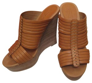 Coach Wedges High Heels Platforms Cognac Sandals