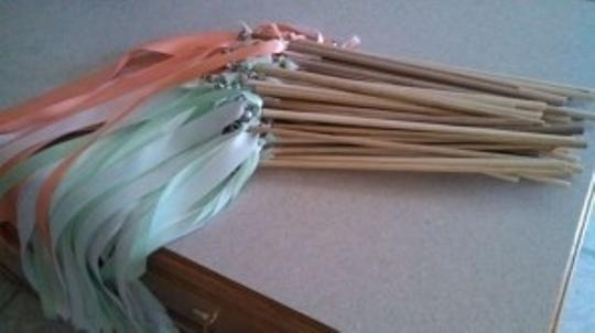 Peach/Coral White Mint Ribbon Wands / Wooden Dowels Reception Decoration