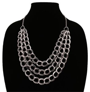 Other New Silver Chain Link Layered Statement Necklace