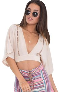 Showpo Crop Cut-out V-neck Top Beige