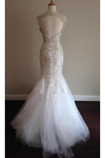 Monique Lhuillier Ivory Embroidered Tulle and Chantilly Lace Adele Gown Formal Wedding Dress Size 6 (S) Image 1
