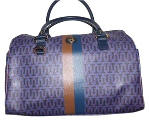 Tory Burch Rare T Logo Print Early Xl Size Gold Hardware Mix And Match Satchel in purple/blues/brown/black