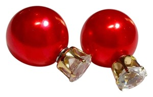 Other New Red Double Sided Stud Earrings Crystal J2803