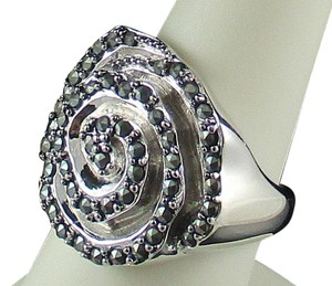 Other Marcasite Sterling Silver Rose Ring - Size 8