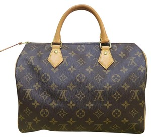 Louis Vuitton Lv Monogram Speedy Canvas Tote in brown