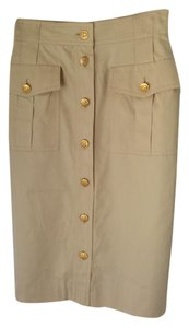 Escada Pencil Hardware Stretchy Skirt beige,gold