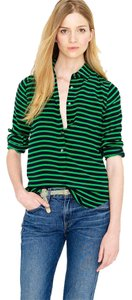 J.Crew Long Sleeve Woven Silk Top Green