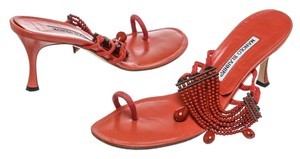 Manolo Blahnik Coral/Red Sandals
