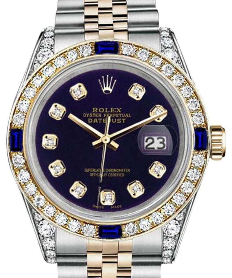 Rolex Women\u0027s 31mm Datejust Purpledial with Sapphire \u0026 Diamond Watch 55%  off retail