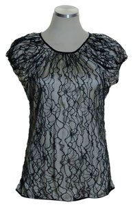 Zac Posen Lace Woven Top Black