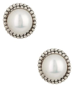 Lagos LAGOS Sterling Silver Luna 12mm Freshwater Pearl Button Earrings