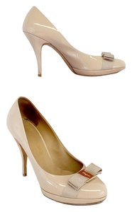 Salvatore Ferragamo Nude Patent Leather Bow Pumps