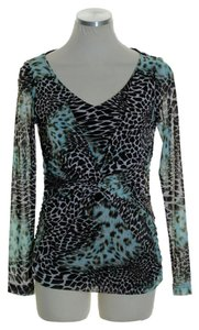 Joseph Ribkoff Stretchy Knit Animal Print Long Sleeve Top Brown Blue