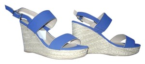 Montego Bay Club Sandals Wedge Straw Blue Wedges