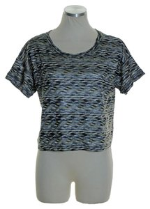 Free People Knit Stretch Short Sleeve Top Gray Multi