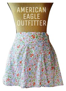 American Eagle Outfitters Floral Skater Pockets Cotton Mini Skirt white, green,coral