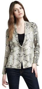 Elizabeth and James Long Sleeve Silk Woven Beige Blazer