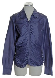 Elie Tahari Long Sleeve Woven Ruched Button Down Shirt Purple