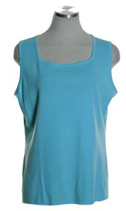 Misook Stretch Knit Sleeveless Top Blue