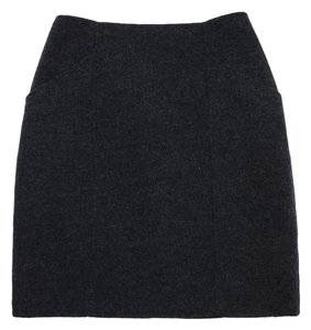 Theory Grey Wool A-line Fitted Skirt
