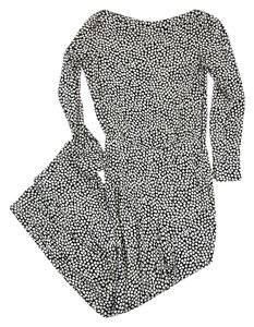 Diane von Furstenberg White Black Print Silk Dress