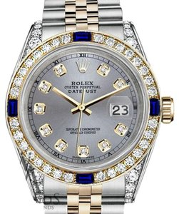 Rolex Rolex 36mm Datejust Watch Grey Dial Sapphire & Diamond With A Track