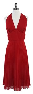 A.B.S. by Allen Schwartz Red Halter Pleated Dress