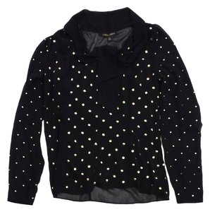 Cynthia Steffe Black Gold Studded Top