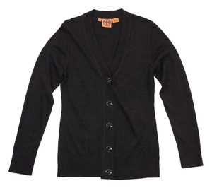 Tory Burch Brown Wool Logo Button Cardigan