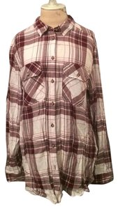 BDG Fall Cotton Boyfriend Oversized Button Down Shirt Plaid