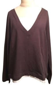 Chico's V-neck Cotton Fall Winter Casual T Shirt Brown