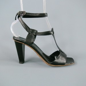 Jil Sander Gladiator Ankle Strap T Strap Wrap Black Sandals