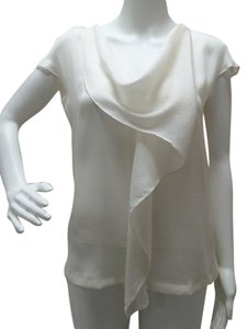Escada Cowl Neckline Cup Sleeves Silk Drop Sleeve Top off-white