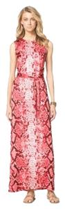 Coral Red\Snake print Maxi Dress by Michael Kors
