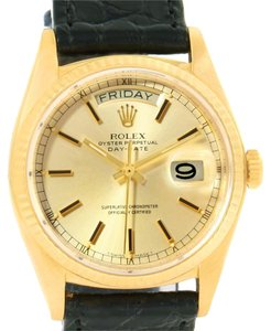 Rolex Rolex President Day-Date 18k Yellow Gold Leather Strap Watch 18038