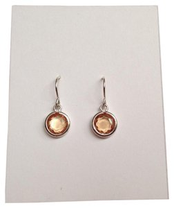 Lord & Taylor Round Silver Wired Drops with Peach Stones