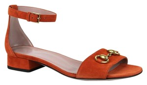 Gucci Nadege Leather W/stirrup Bamboo Buckle New Rust 6419 Sandals