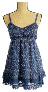 Blue Bird short dress blue Spaghetti Lace Trim Lace Floral on Tradesy
