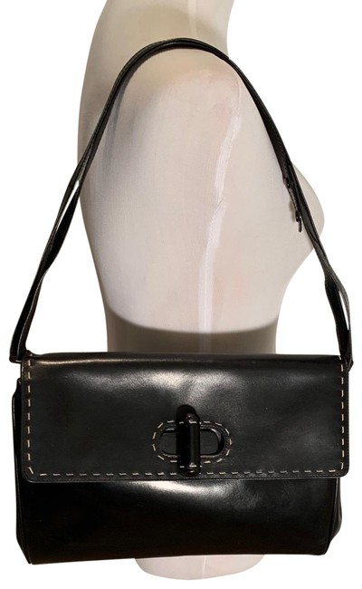 Item - Black with White Stitching Leather Shoulder Bag