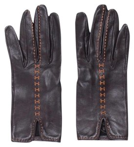 Hermès Hermes Brown Leather Gloves with Orange Contrast Stitching Size 6.5