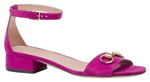 Gucci Nadege Leather W/stirrup Bamboo Buckle Fuchsia 5523 Sandals