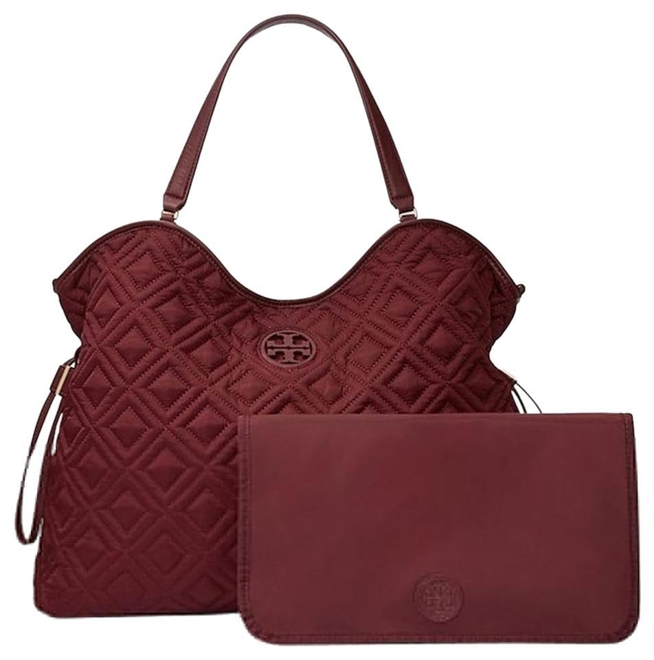 e5e0d60c9f Tory Burch Marion New Quilted Slouchy Burgundy Deep Berry Nylon Diaper Bag  - Tradesy
