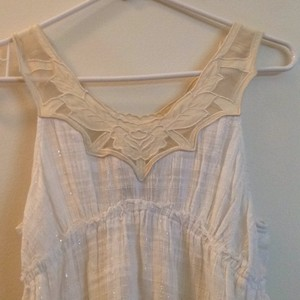 Free People Top White, Pale Yellow, Yellow, Silver