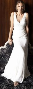 Nicole Miller Very Light Ivory Crepe Georgette Ha0007 Ellen Formal Wedding Dress Size 0 (XS)
