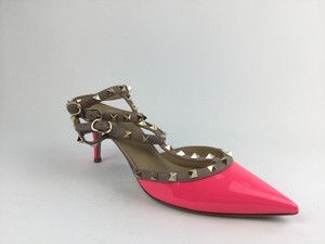Valentino Patent Leather Strap Sandals Neon Pink Pumps