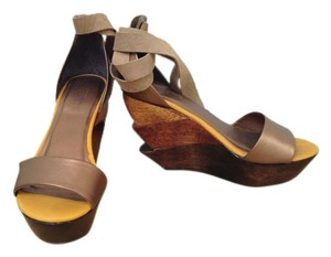 Ports 1961 Leather Wood Ankle Wrap Modern Metallic Brown Wedges