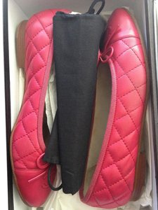 Chanel Ballerina Quilted Raspberry Red Flats