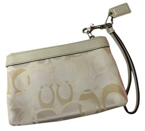 Coach Monogram Wristlet in Cream
