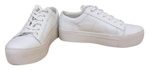 DKNY Athleisure Hidden Sneaker Leather White Platforms