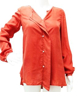 DKNY N13262bn Notch Neckline Bishop Long Sleeves Passion Buttons Down Tunic